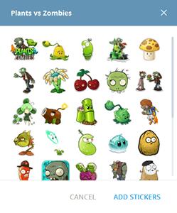 Скачайте стикеры Plants vs zombie для Telegram