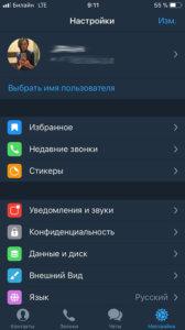 Telegram X меню настроек